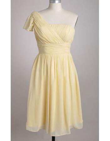 Custom One Shoulder Chiffon Knee Length Pleated Bridesmaid Dresses