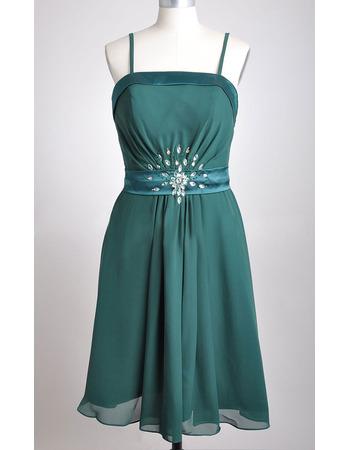 Inexpensive Spaghetti Straps Chiffon Tea Length Bridesmaid Dresses