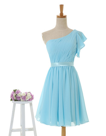 2018 New One Shoulder Chiffon Short Bridesmaid Dresses with Belts