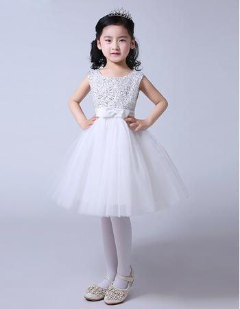 Adorable A-Line Knee Length Satin Organza Beaded Flower Girl Dresses