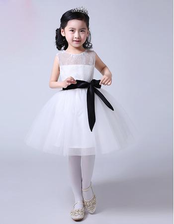 Custom Ball Gown Knee Length Tulle Flower Girl Dresses with Sashes