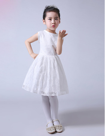 Stunning A-Line Knee Length Lace Flower Girl/ First Communion Dresses