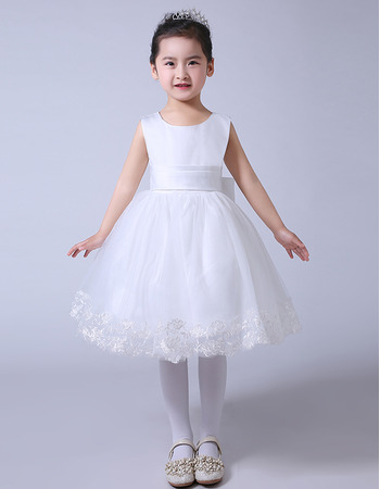 Custom Ball Gown Knee Length Organza Satin Bow Flower Girl Dresses