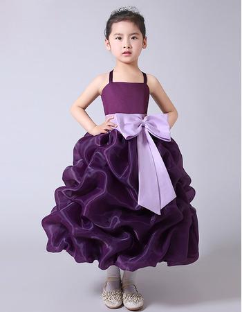 Stunning Tea Length Pick-Up Skirt Flower Girl Dresses with Sashes