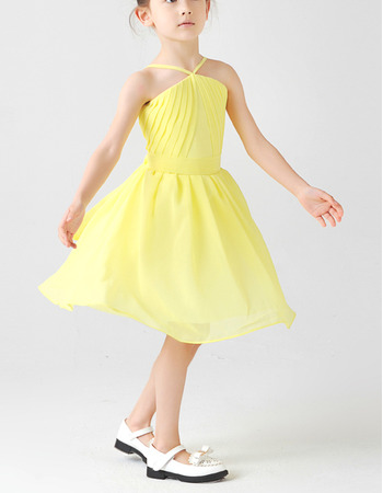 Custom Spaghetti Straps Knee Length Chiffon Little Girls Easter Dresses