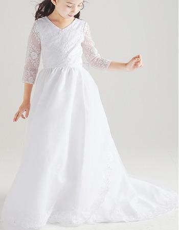 Custom Sweep Train Chiffon Flower Girl Dresses with Long Sleeves