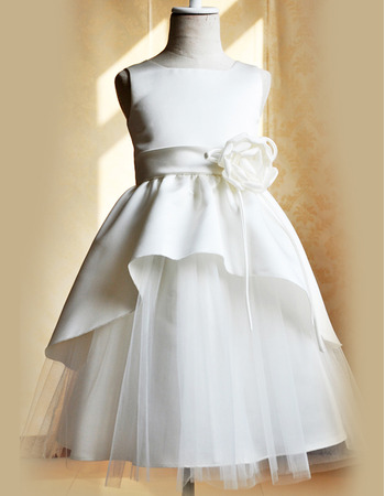 Inexpensive Floor Length Satin Tulle Girls First Communion Dresses