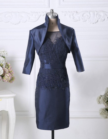 Affordable Column Knee Length Taffeta Mother Dresses with Jackets
