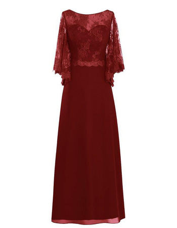 Custom Sweetheart Floor Length Chiffon Mother Dresses with Lace Sleeves