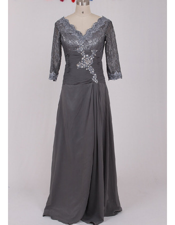 Custom Floor Length Chiffon Mother Dresses with 3/4 Lace Sleeves