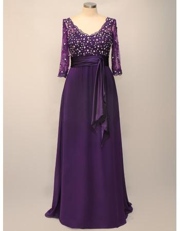 Custom V-Neck Floor Length Chiffon Mother Dresses with 3/4 Sleeves