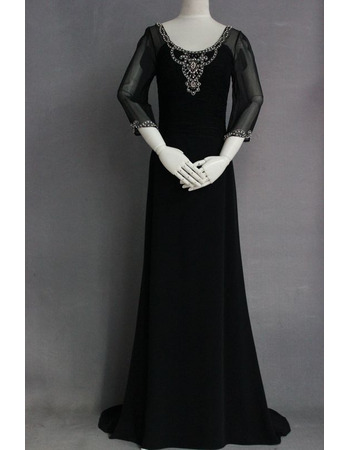 Custom Sheath Chiffon Black Mother Dresses with 3/4 Long Sleeves