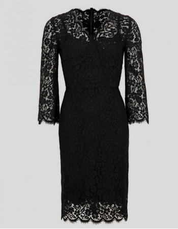 Modest Column Knee Length Lace Black Mother Dresses with Lace Sleeves