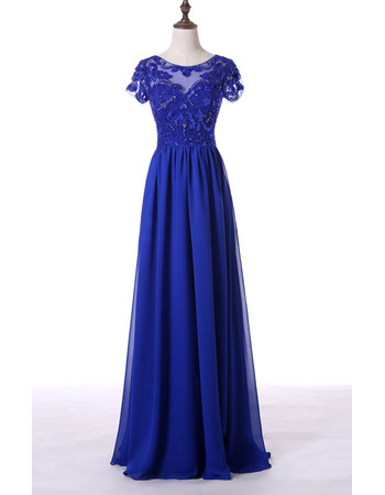 Custom A-Line Chiffon Mother Dresses with Short Sleeves and Sequins