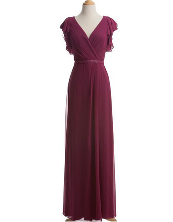 Inexpensive Column V-Neck Chiffon Mother Dresses with Cap Sleeves