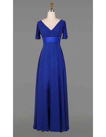 2019 V-Neck Floor Length Chiffon Mother Dresses with Short Sleeves