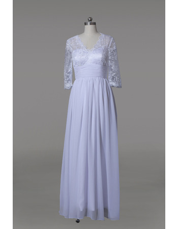 Affordable V-Neck Long Chiffon Mother Dresses with 3/4 Lace Sleeves