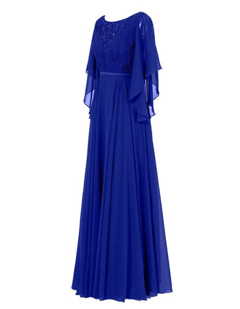 Custom Elegant Floor Length Chiffon Mother Dresses with Cap Sleeves
