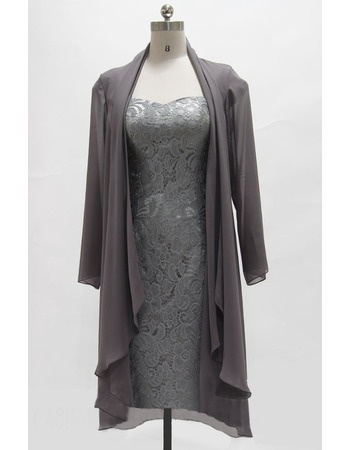 Custom Column Square Neck Knee Length Lace Mother Dresses with Jackets
