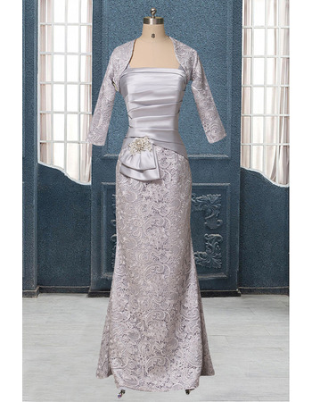 2018 New Sheath Straps Floor Length Mother Dresses with Lace Jackets