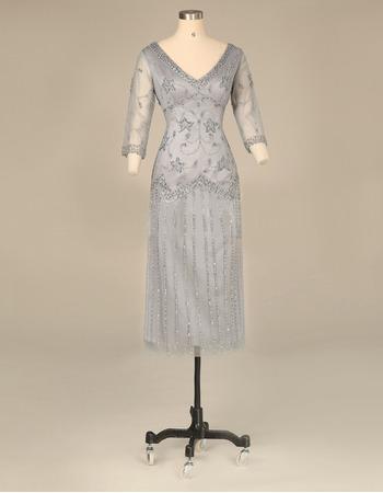Elegant V-Neck Short Satin Tulle Mother Dresses with 3/4 Long Sleeves