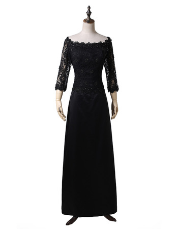 Modest Off-the-shoulder Chiffon Mother Dresses with 3/4 Long Sleeves