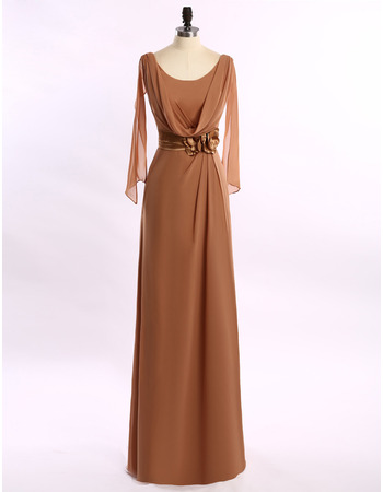 Custom Floor Length Chiffon Cowl Mother Dresses with Cap Sleeves
