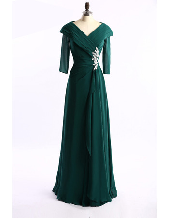 2018 Style Lapel Long Chiffon Mother Dresses with 3/4 Long Sleeves