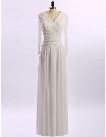 Custom V-Neck Floor Length Chiffon Mother Dresses with Long Sleeves