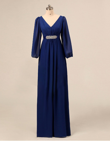 Inexpensive Empire V-Neck Chiffon Mother Dresses with Long Sleeves