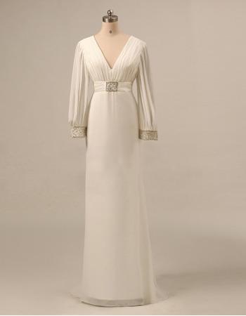 Elegant Empire V-Neck Long Chiffon Mother Dresses with Long Sleeves