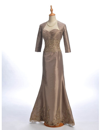 2019 Trumpet Sweetheart Floor Length Mother Dresses with Jackets