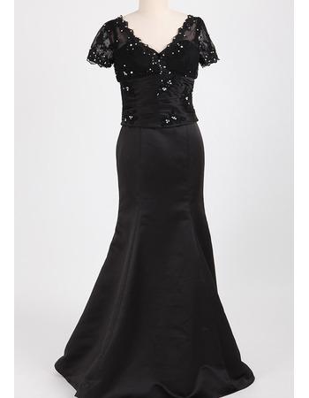 Custom Trumpet V-Neck Long Black Mother Dresses with Short Sleeves
