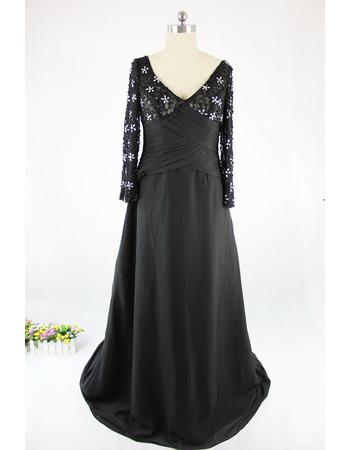 Affordable V-Neck Long Satin Black Mother Dresses with Long Sleeves