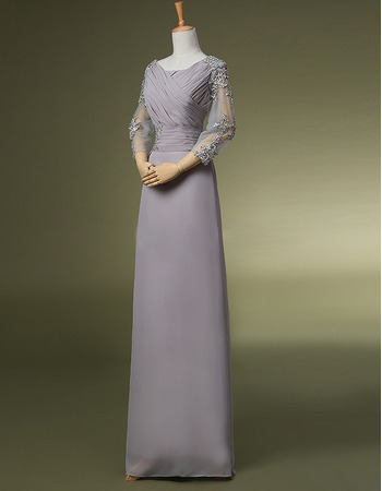 Modest Chiffon Floor Length Mother Dresses with 3/4 Long Sleeves