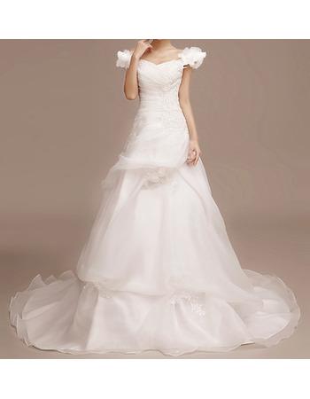 Custom Off-the-shoulder Sweep Train Satin Tulle Wedding Dresses