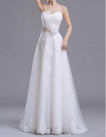 Discount Sweetheart Floor Length Satin Tulle Wedding Dress with Sash