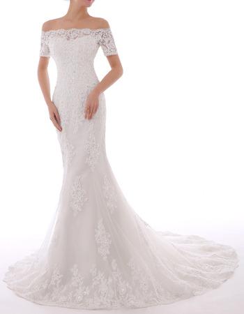 Vintage Sheath Off-the-shoulder Chiffon Embroidery Wedding Dresses