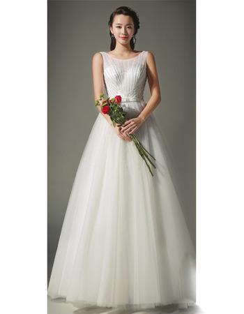 2018 Style A-Line Full Length Satin Tulle Beaded Wedding Dresses