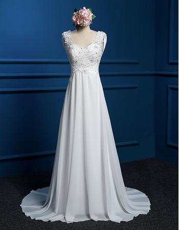 Elegant A-Line Round Empire Sweep Train Chiffon Wedding Dresses