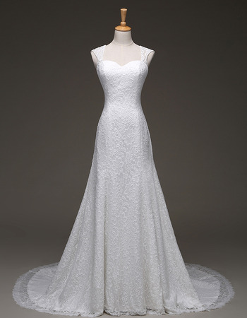 Custom Elegant A-Line Sweetheart Sweep Train Lace Wedding Dresses