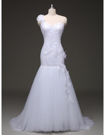 Discount Trumpet One Shoulder Sweep Train Organza Wedding Dresses
