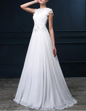 Elegant A-Line Bateau Sweep Train Chiffon Applique Wedding Dresses