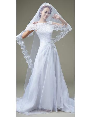 Inexpensive A-Line Bateau Sweep Train Organza Pleated Wedding Dresses