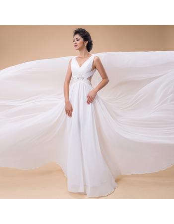2018 New Style A-Line V-Neck Chapel Train Chiffon Wedding Dresses