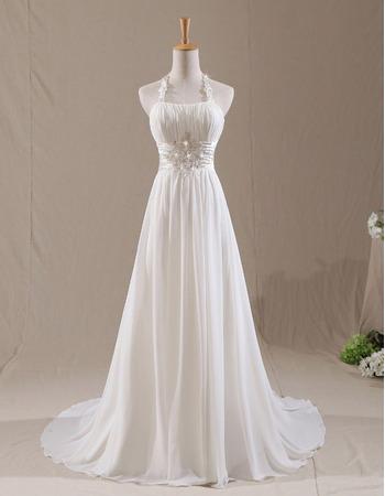 Custom A-Line Halter Court Train Chiffon Pleated Wedding Dresses