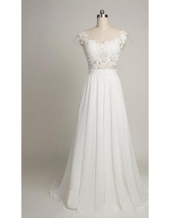 Vintage Round/ Scoop Sweep Train Chiffon Applique Wedding Dresses