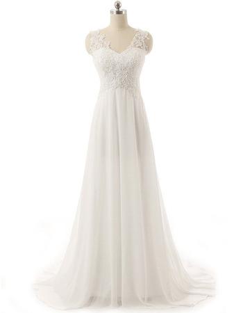 2018 Style A-Line Sweetheart Sweep Train Chiffon Wedding Dresses