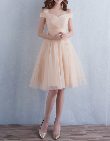 Custom Off-the-shoulder Knee Length Tulle Lace-Up Bridesmaid Dresses