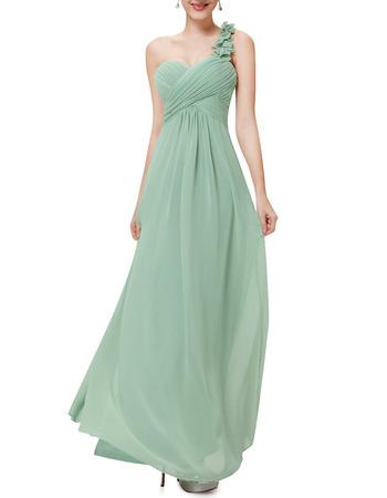 2018 One Shoulder Sweetheart Floor Length Chiffon Bridesmaid Dresses